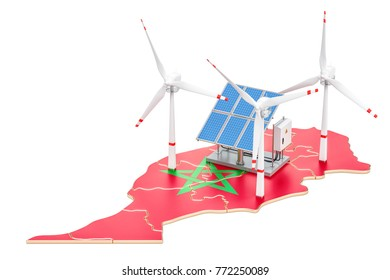 Renewable energy and sustainable development in Morocco, concept. 3D rendering isolated on white background
