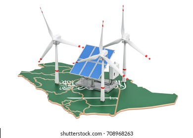 Renewable energy and sustainable development in Saudi Arabia, concept. 3D rendering isolated on white background