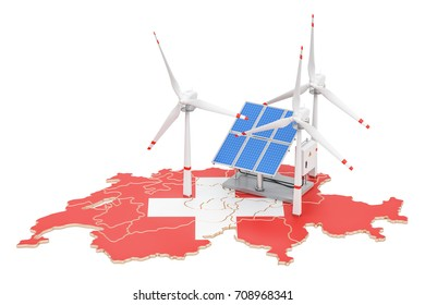 Renewable energy and sustainable development in Switzerland, concept. 3D rendering isolated on white background