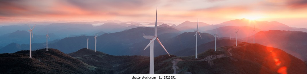 Renewable energy wind turbines on the mountain