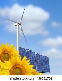 Renewable energy: windmill, solar panel and sunflower
