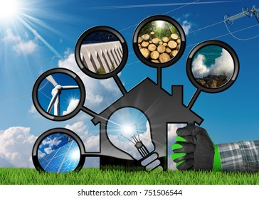 Renewable Resources - Hand with work glove holding a model house (3D illustration) with a light bulb and sustainable energies. Wind, solar, biomass, hydropower, power of the sea
