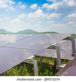renewable solar energy Power plant : The concept of renewable energy. Clean energy Environmentally friendly The solar farm is a module of Tin film.