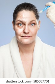 Renewing Myself - Anti Wrinkle Injection, from Old to Young.Woman, getting an Botulinum toxin injection: Left side: Old and wrinkled, right side: Young and worked over in a well known editing program