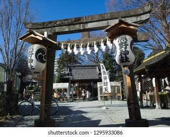 RENJYAKU, KAWAGOE / JAPAN – JANUARY 19, 2019: The main gate and main hall of Kawage Kumano-jinya Shrine at Renjyaku-cho in Kawagoe, Saitama, Japan.