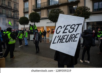 Rennes, Bretagne / France - January 19 2019: Over 2000 Gilets Jaunes gathered in Rennes for the protests. They were blocked by the police with heavy force.