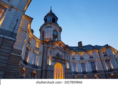 Rennes City Hall at dusk. The square city hall of Rennes, Brittany-France, on the old town square.