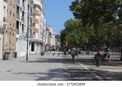 Rennes, France - 08 02 2019 : the François Mitterrand mall in the city of Rennes, wide tree-lined road with play areas, pedestrian paths and cycle paths, city of Rennes, Ile et Vilaine department