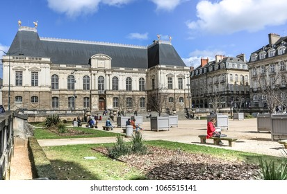 RENNES, FRANCE -2 APRIL 2018:  Square in front of the Palace of the Parliament of Brittany. City of Rennes, Brittany, France.