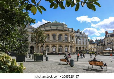RENNES, FRANCE -2 APRIL 2018: The area in front of the Opera Theater of Rennes, Brittany, France.