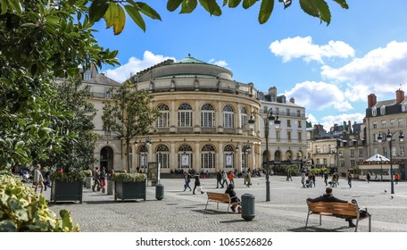 RENNES, FRANCE -2 APRIL 2018: Beautiful view of the square in front of the Opera Theater of Rennes, Brittany, France.
