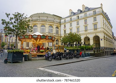 RENNES, FRANCE -28 DEC 2017- The Opera House in Rennes, capital of the French region of Brittany, was built in 1836. It is located on the Place de la Mairie, opposite City Hall.