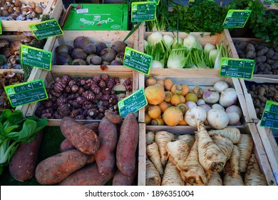 RENNES, FRANCE -28 DEC 2020- View of crates of fresh vegetable with the label Agriculture Biologique (organic) at the Marche des Lices in the Brittany capital.