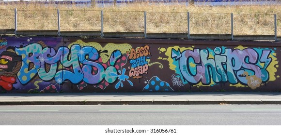 RENNES, FRANCE -31 JULY 2015- Graffiti art on street walls and stores in downtown Rennes, the capital of the Brittany region of France.