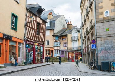 RENNES, FRANCE - April 28, 2018: Antique building view in Old Town in Rennes, France
