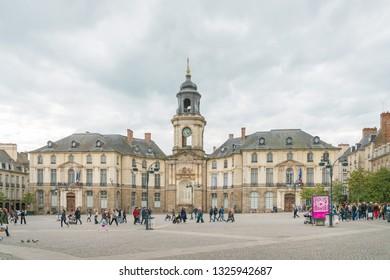 RENNES, FRANCE - April 28, 2018: Rennes City Hall in Rennes, France