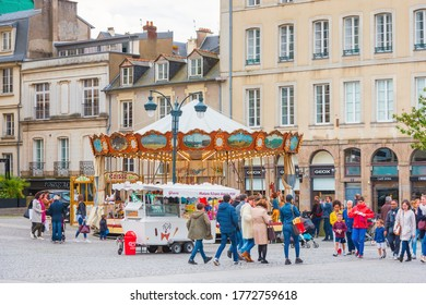 RENNES, FRANCE - April 28, 2018: Tourists on foot Graben Street in Rennes, France