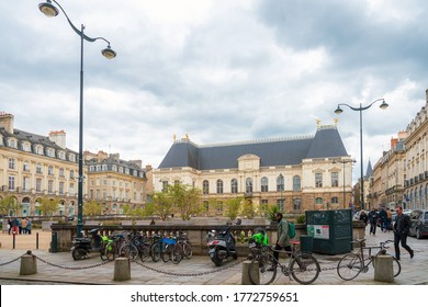 RENNES, FRANCE - April 28, 2018: Street view of downtown in Rennes, France