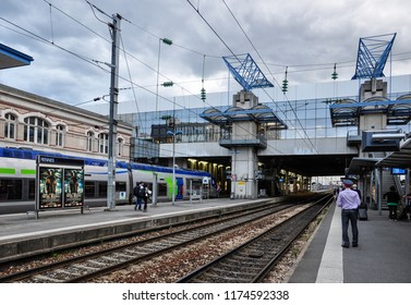 Rennes / France — August 16, 2012: platforms at Gare de Rennes, the central railway station of Rennes, France. The station lies on the Brest-Paris railway line