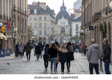 Rennes, France - December 28 2019: Beautiful winter day in Rennes Old Town, Normandy