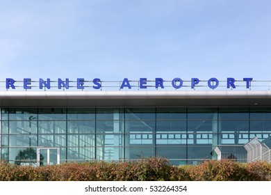 Rennes, France - October 30, 2016: Rennes Saint-Jacques Airport is a minor international airport about 6 kilometres southwest of Rennes, Ille-et-Vilaine, in the region of Brittany, France