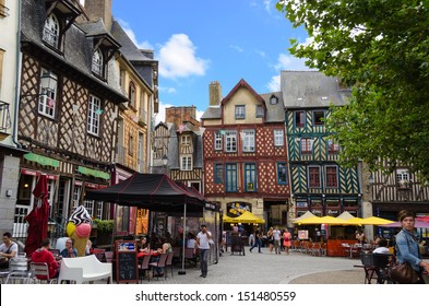 RENNES - JULY 31: Place Sainte Anne on July 33, 2013 in Rennes France. This square is located in the northern part of the historic centre of Rennes