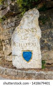 Rennes le Chateau, France - June 3, 2019:  Village stone sign at the entrance
