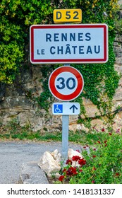 Rennes le Chateau Village stone sign at the entrance France