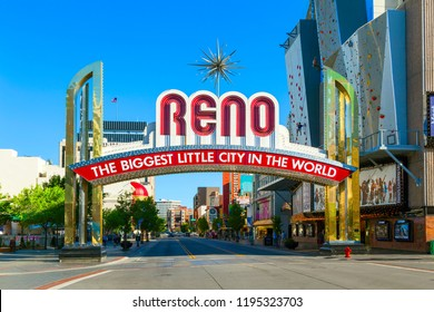 RENO - JUNE 17: The Reno Arch on June 17,2012 in Reno, Nevada. The original arch was built in 1926 to commemorate the completion of the Lincoln and Victory Highways.