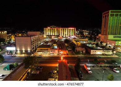 RENO, NEVADA - AUGUST 23, 2016 Downtown Reno overlook at night. Sands Regency Hotel and Casino on background