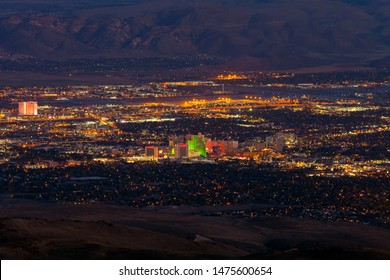 Reno Nevada City Skyline from Peavine Mountain at Night.