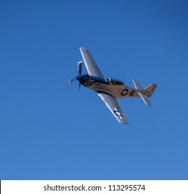 RENO, NEVADA Â?- SEPTEMBER 16:  Dan Vance flying a TF-51D Mustang, called Lady Jo, during the Bronze Medal Unlimited class race at the National Championship Air Races on September 16, 2012 near Reno, Nevada.