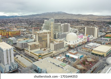 RENO, NEVADA, UNITED STATES - Mar 09, 2020: Reno, Nevada's historic downtown, made up of several casinos, is in the middle of transitioning into more non-gaming tourism.