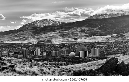 Reno, Nevada / United States - November, 16 2016: Cityscape of downtown Reno Nevada in the winter with many of the major hotels and casinos that make up the Reno skyline.
