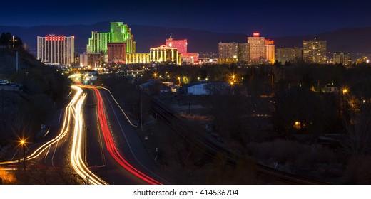 RENO, NEVADA, USA - CIRCA 2016: Downtown city skyline at night of Reno Nevada