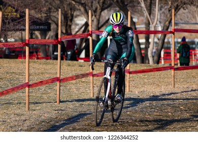Reno, Nevada / USA - January 12, 2018: Competitive cyclocross racing held at San Rafael Park brought racers from multiple divisions.