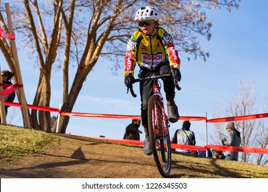 Reno, Nevada / USA - January 12, 2018: A racer competes in championship cyclocross racing at San Rafael Regional Park.