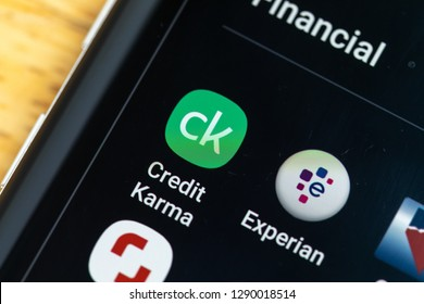 RENO, NV - January 16, 2019: Credit Karma Android App on Galaxy Screen. Credit Karma is used to check credit score.