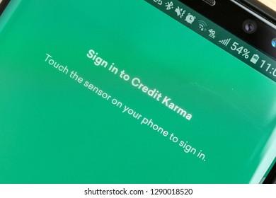 RENO, NV - January 16, 2019: Credit Karma Android App on Galaxy
