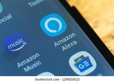 RENO, NV - January 16, 2019: Amazon Alexa Android App on Galaxy Screen. Amazon Alexa is a Virtual Assistant AI.