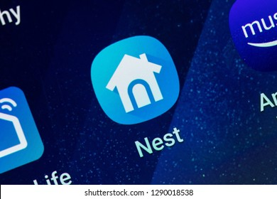 RENO, NV - January 16, 2019: Nest Home Android App on Galaxy Screen. Nest is a home smart service.