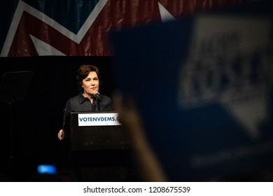 Reno, NV - June 23, 2018 - Jacky Rosen Speaking During Nevada State Democratic Convention With Political Sign