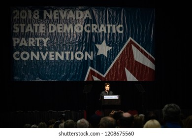 Reno, NV - June 23, 2018 - Wide Angle Photo Of Jacky Rosen At Nevada State Democratic Convention