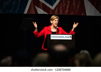 Reno, NV - June 23, 2018 - Elizabeth Warren With Arms Up At Nevada State Democratic Convention