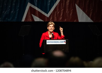 Reno, NV - June 23, 2018 - Elizabeth Warren Pointing With Emotion At Nevada State Democratic Convention