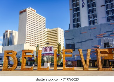 RENO, NV - MARCH 21 2016 - The iconic Reno Arch sits behind a street art installation in downtown Reno.