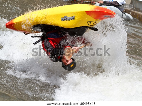 RENO, NV - MAY 6: Truckee River Whitewater Park at Wingfield. Competitor during open freestyle competition, Reno River Festival on May 6, 2011 in Reno, Nevada