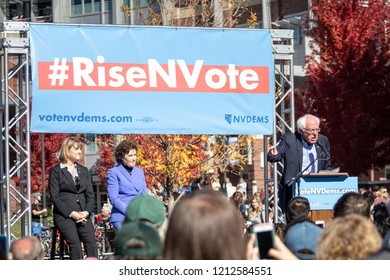 RENO, NV - October 25, 2018 - Bernie Sanders with Jacky Rosen and Kate Marshall at a political rally on the UNR campus.
