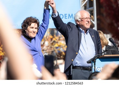 RENO, NV - October 25, 2018 - Jacky Rosen holding hands with Bernie Sanders at a political rally on the UNR campus.