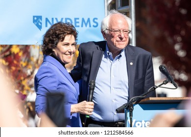 RENO, NV - October 25, 2018 - Jacky Rosen with Bernie Sanders at a political rally on the UNR campus.